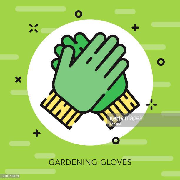gloves open outline gardening icon - gardening glove stock illustrations, clip art, cartoons, & icons
