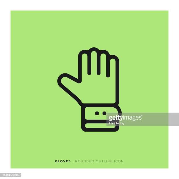 ilustraciones, imágenes clip art, dibujos animados e iconos de stock de icono de línea redondeada de guantes - guantes de portero