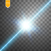 Glow isolated blue transparent effect, lens flare, explosion, glitter, line, sun flash, spark and stars. For illustration template art design, banner for Christmas celebrate, magic flash energy ray