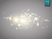Glow light effect. Cloud of glittering dust. Vector illustration.
