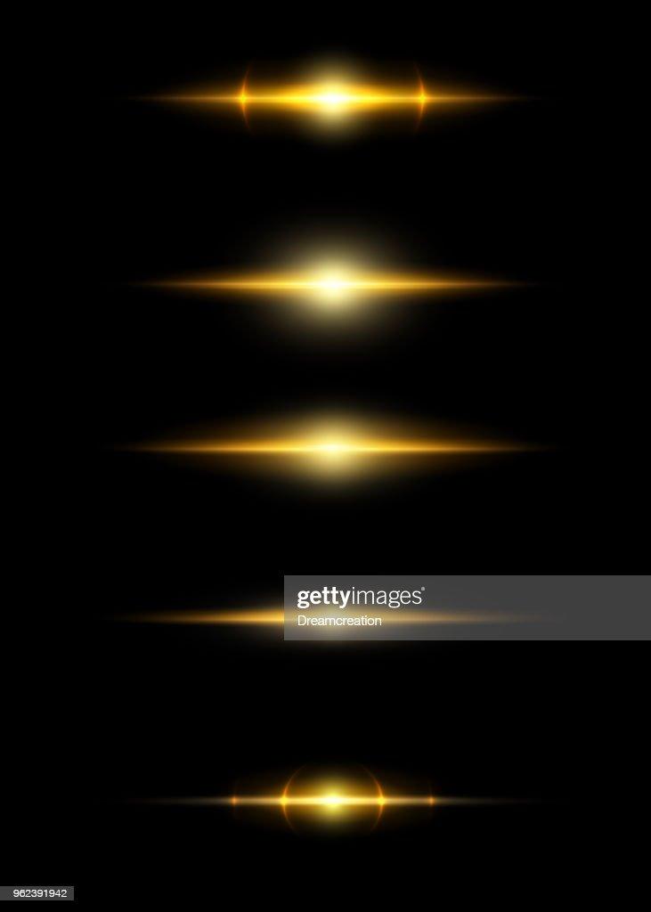Glow light effect. Star burst with sparkles. black background.
