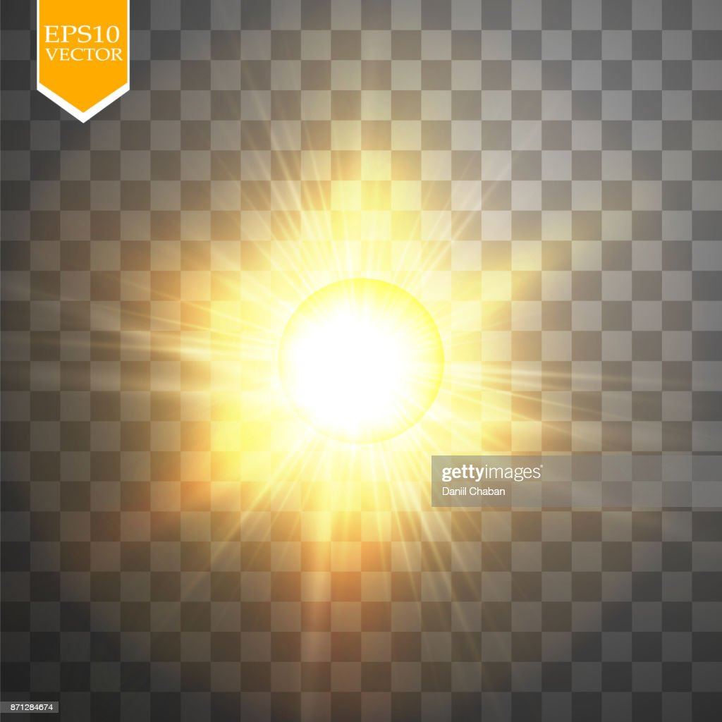 Glow light effect. Starburst with sparkles on transparent background. Vector illustration