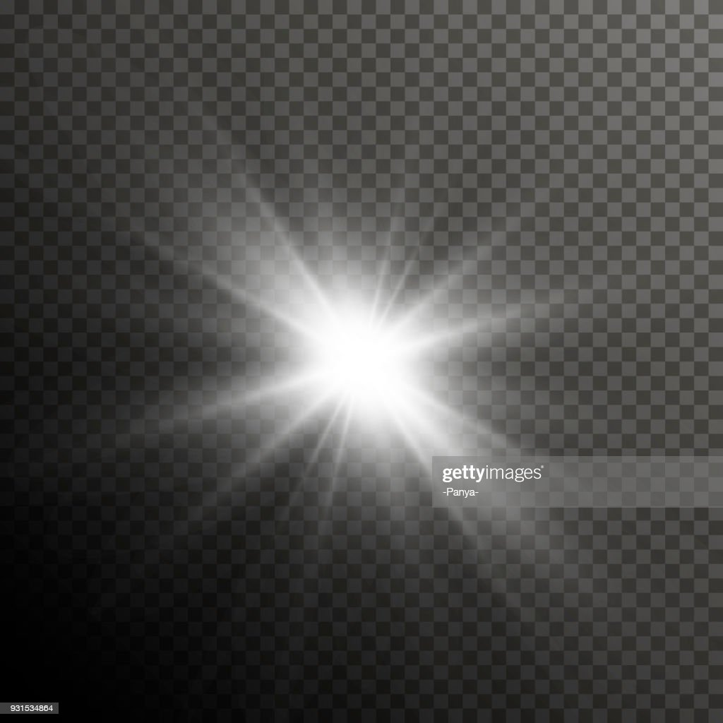 Glow light lens flare special effect. Shiny starburst with sparkles. Transparent sun flash with spotlight and rays