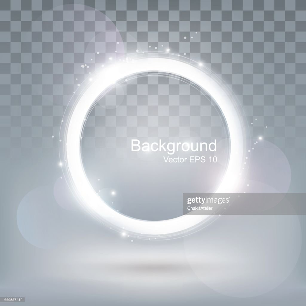 Glow light round shiny frame, glitter ring background, transparent, vector