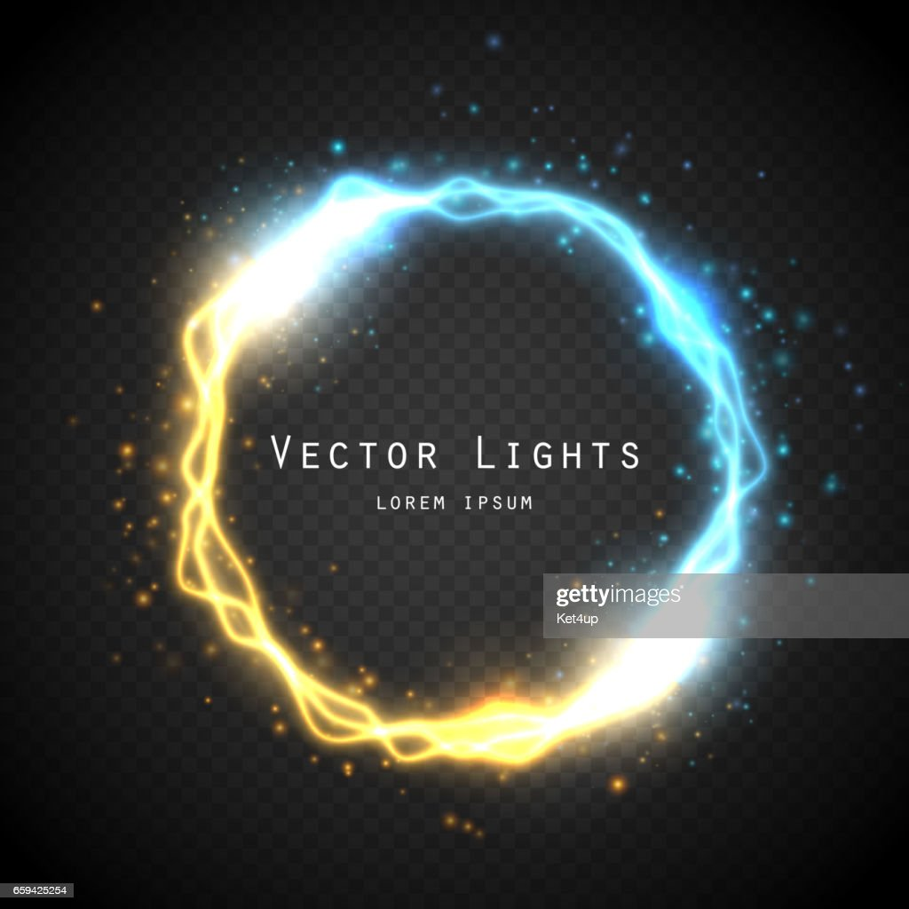 Glow round frame with electric discharge effect isolated. Vector illustration