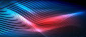 Glowing abstract wave on dark, shiny motion