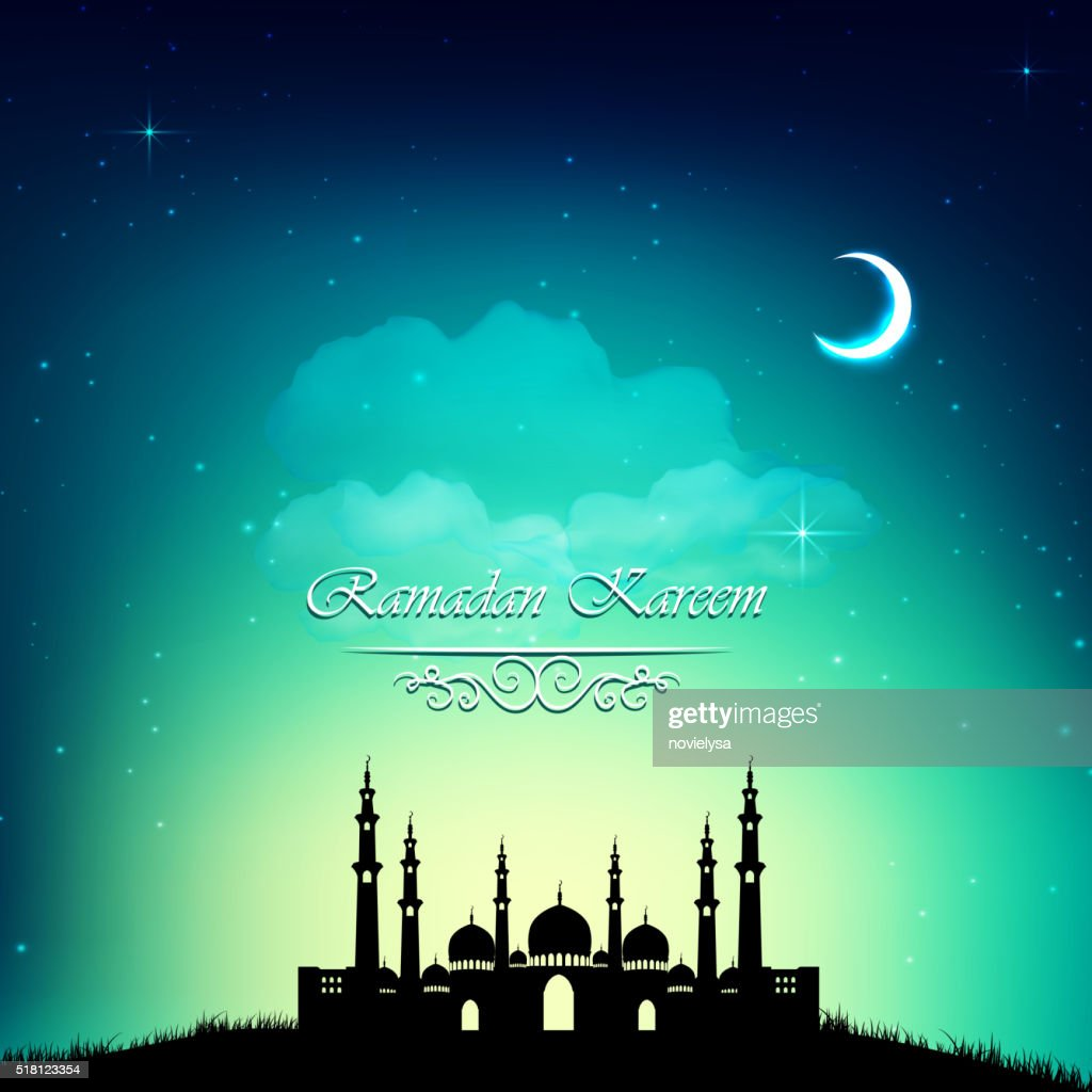 Glowing background mosque ramadan kareem