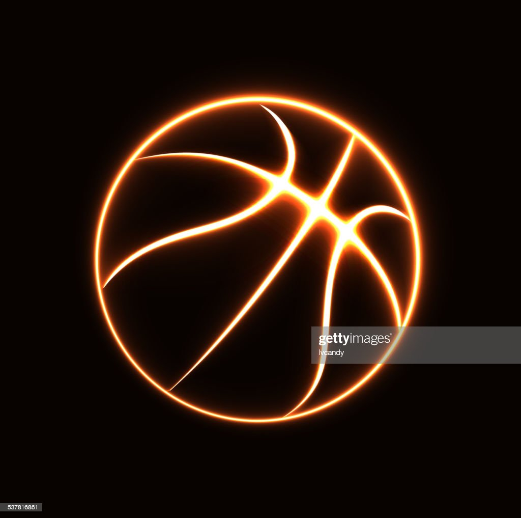 Glowing basketball symbol