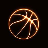 Glowing basketball symbol