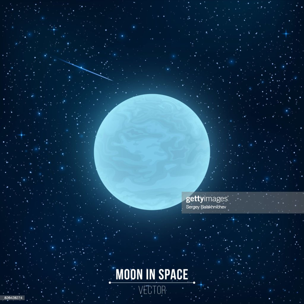 Glowing blue full moon in space. Falling star. Many luminous stars. Realistic space. Vector illustration