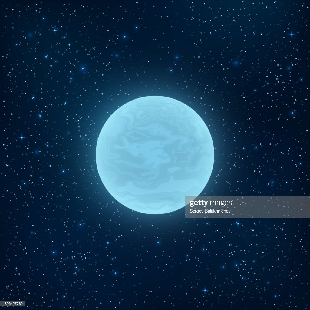Glowing blue full moon in space. Many luminous stars. Realistic space. Vector illustration