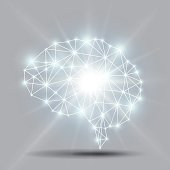 Glowing brain polygon with shiny light burst Vector