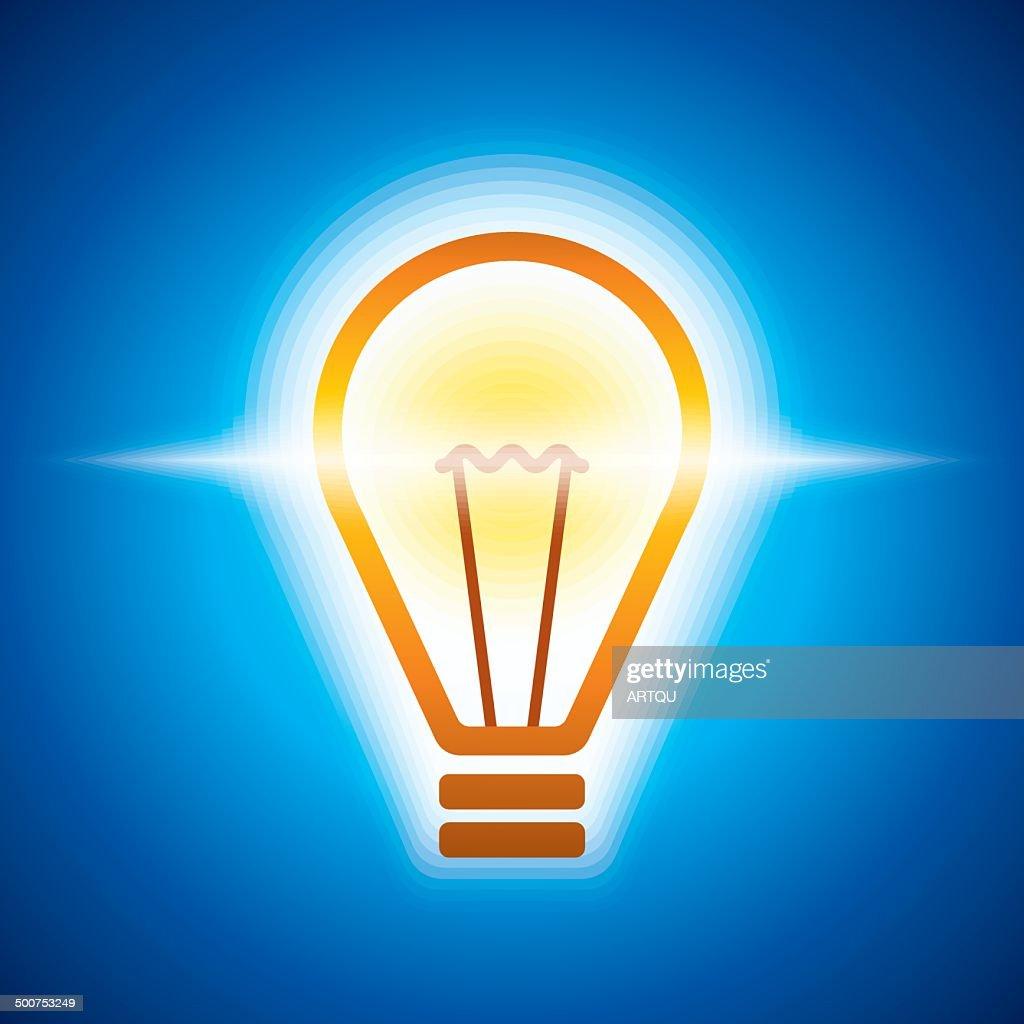 glowing bulb in bluish light