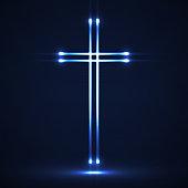Glowing christian cross