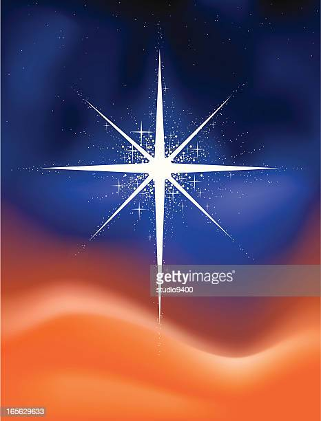 glowing christmas star - north star stock illustrations