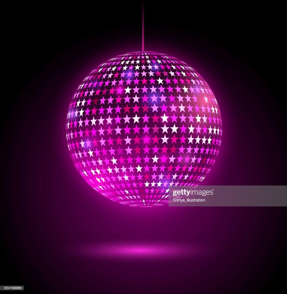 Glowing disco ball with stars.