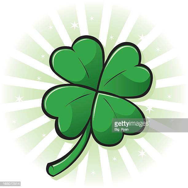 glowing four leaf clover graphic - four leaf clover stock illustrations