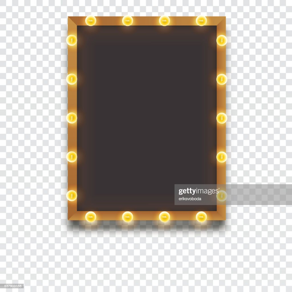 Glowing frame with light bulbs