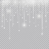 Glowing glitter light effects isolated realistic. Christmas decoration design element. Sunlight lens flare. Shining elements and stars. Golden texture. Transparent vector particles background