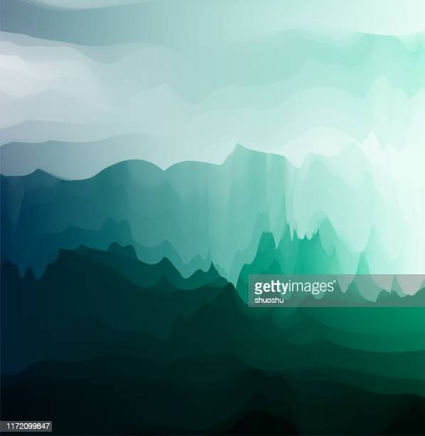 glowing gradient mountain landscape poster background - ancient stock illustrations