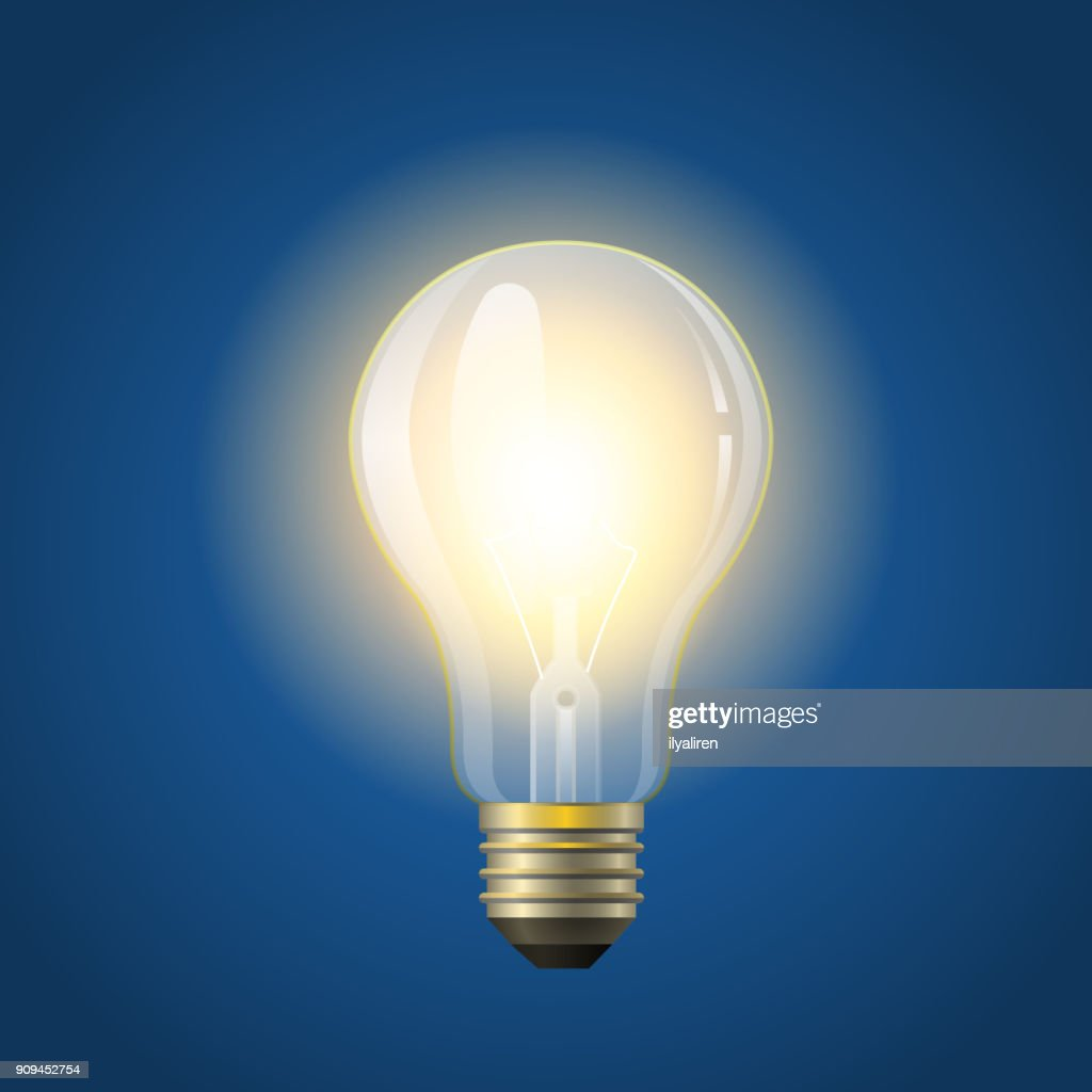 Glowing incandescent bulb - modern vector realistic isolated illustration