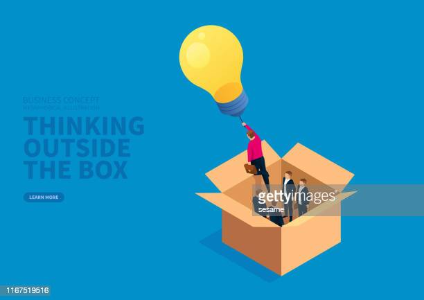 glowing light bulb leads the businessman to fly outside the box - ideas stock illustrations