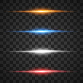 Glowing light effects, star burst with sparkles on transparent background