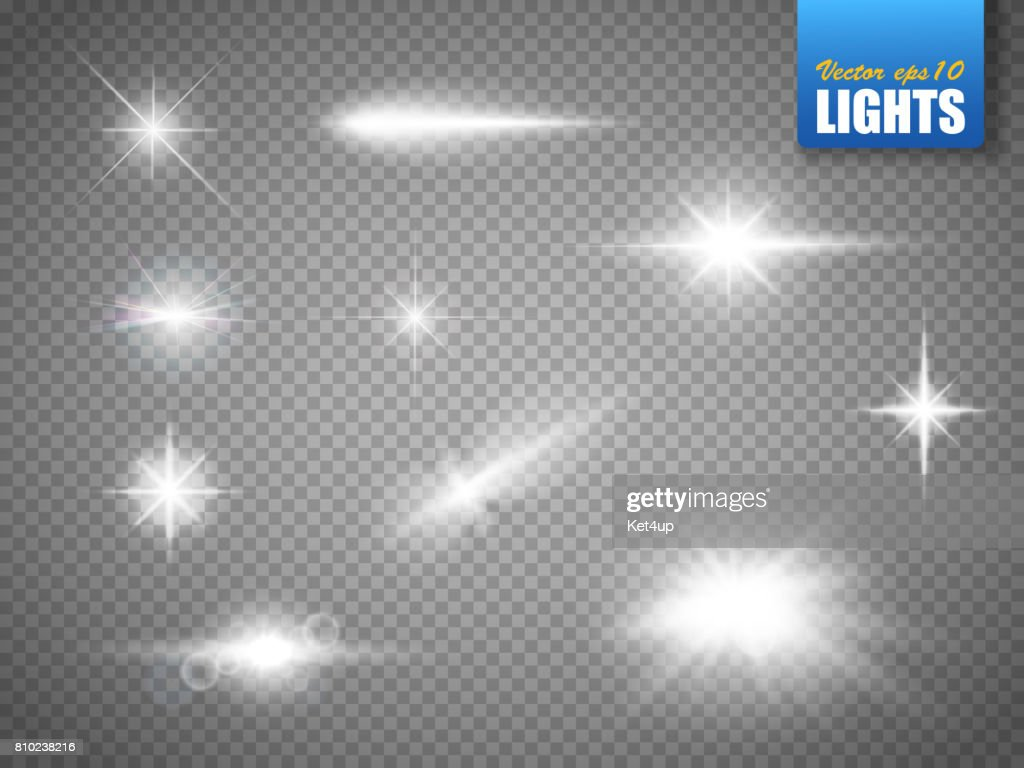 Glowing lights effect, flare, explosion and stars. Special effect isolated