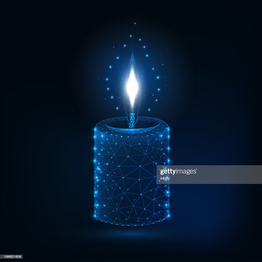 Glowing low polygonal aromatic candle stick on dark blue background.