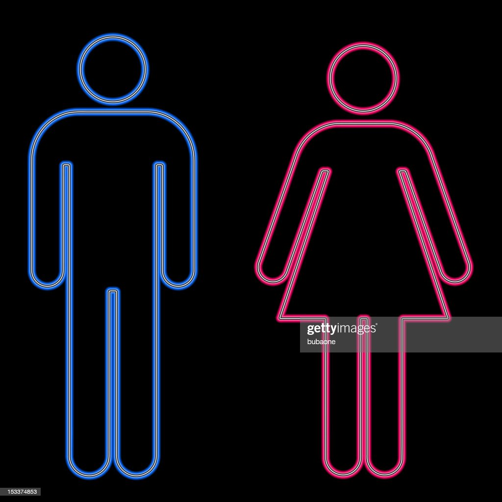 Glowing men's lady's room signs.