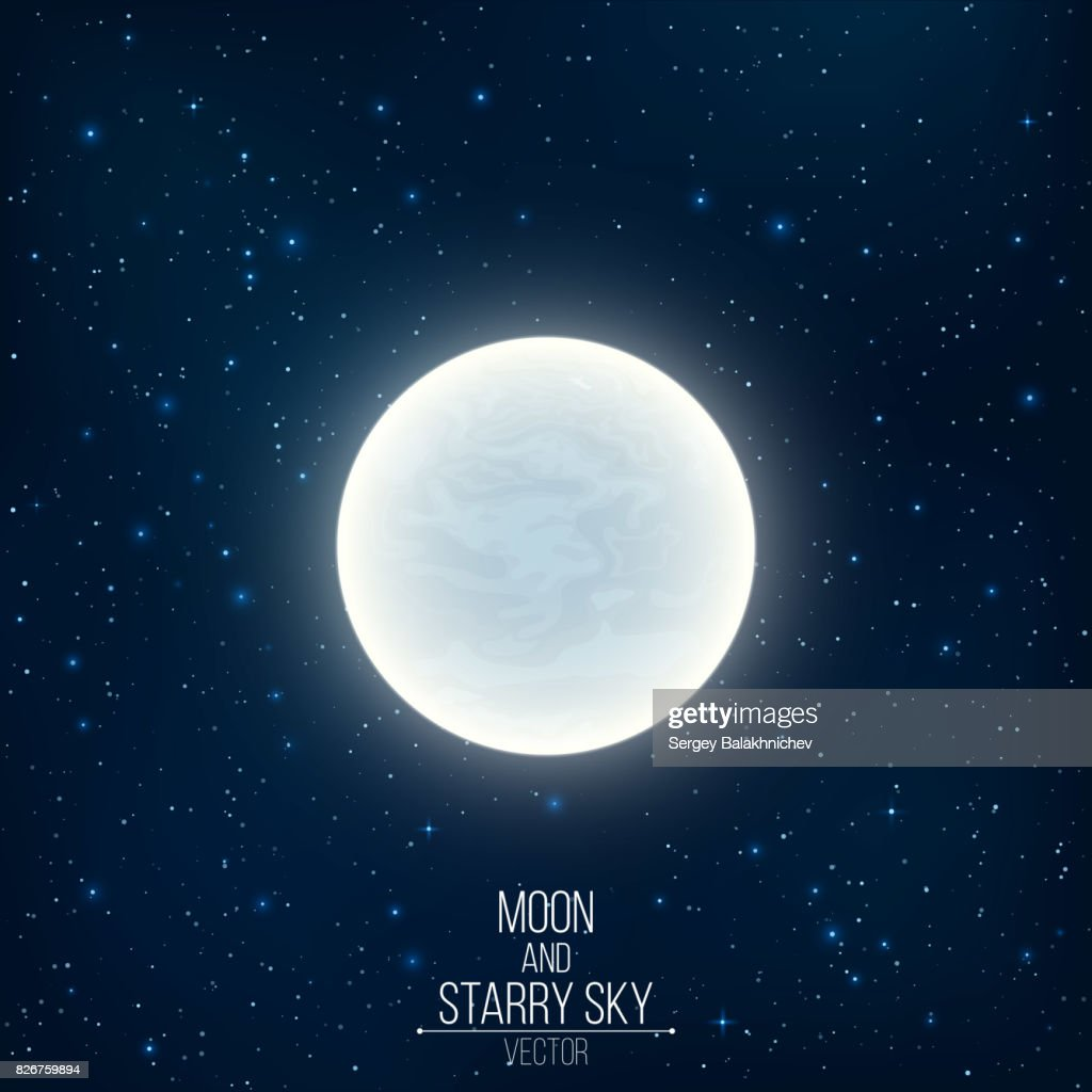 Glowing milky full moon in space. Many luminous stars. Realistic space. Vector illustration