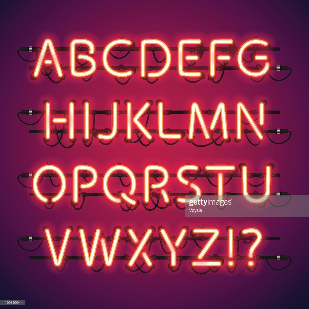 Glowing Neon Bar Alphabet