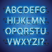 Glowing Neon Blue Alphabet
