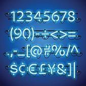 Glowing Neon Blue Numbers