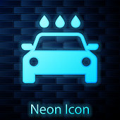 Glowing neon Car wash icon isolated on brick wall background. Carwash service and water cloud icon. Vector Illustration