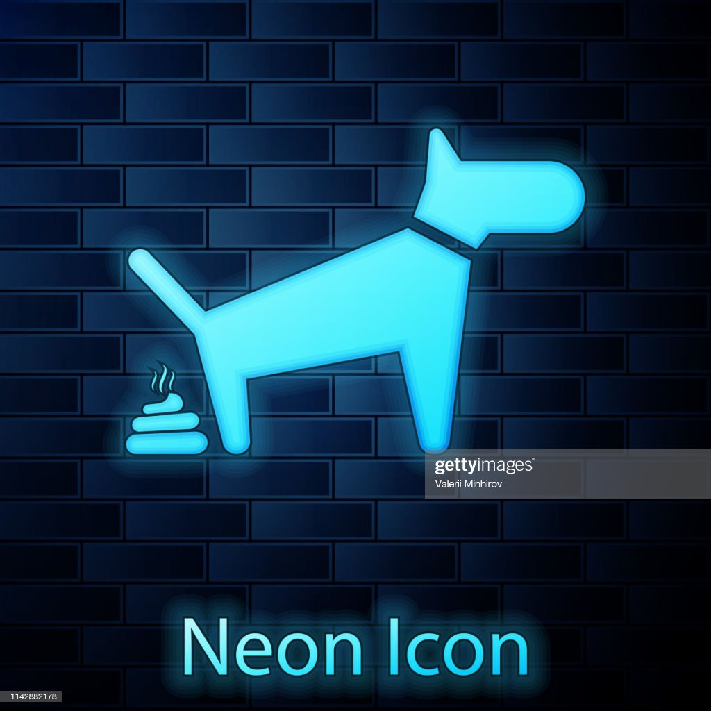 Glowing neon Dog pooping icon isolated on brick wall background. Dog goes to the toilet. Dog defecates. The concept of place for walking pets. Vector Illustration