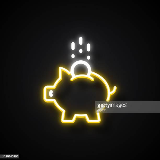 glühende neon-effekt sparen geld-symbol. umrisssymbol-auflistung - sparschwein stock-grafiken, -clipart, -cartoons und -symbole