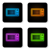 Glowing neon Microwave oven icon isolated on white background. Home appliances icon.Black square button. Vector Illustration