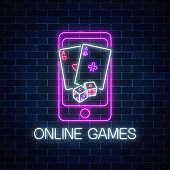 Glowing neon sign of online games application in mobile device screen with playing cards and dice Internet casino banner