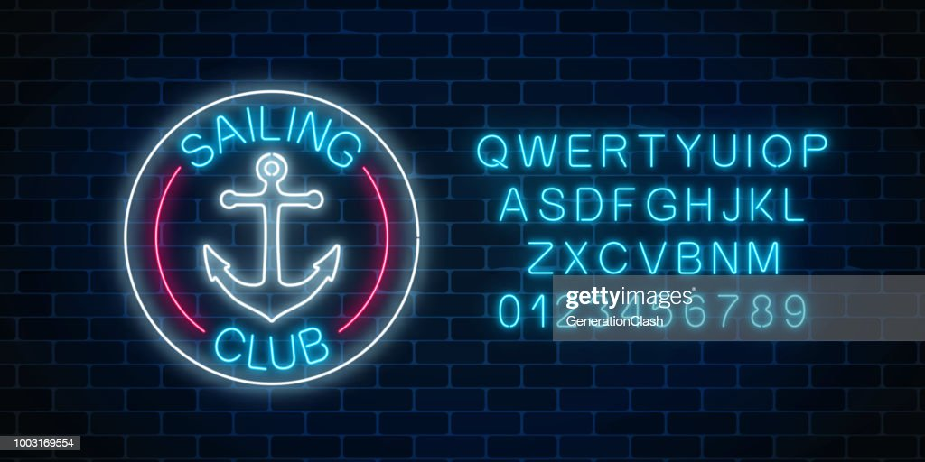 Glowing neon sign of sailing club with anchor symbol in circle frames. Summer leisure yacht club emblem.