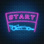Glowing neon sign with racing car side view and start text on ribbon. Abstract symbol of new project or business stratup