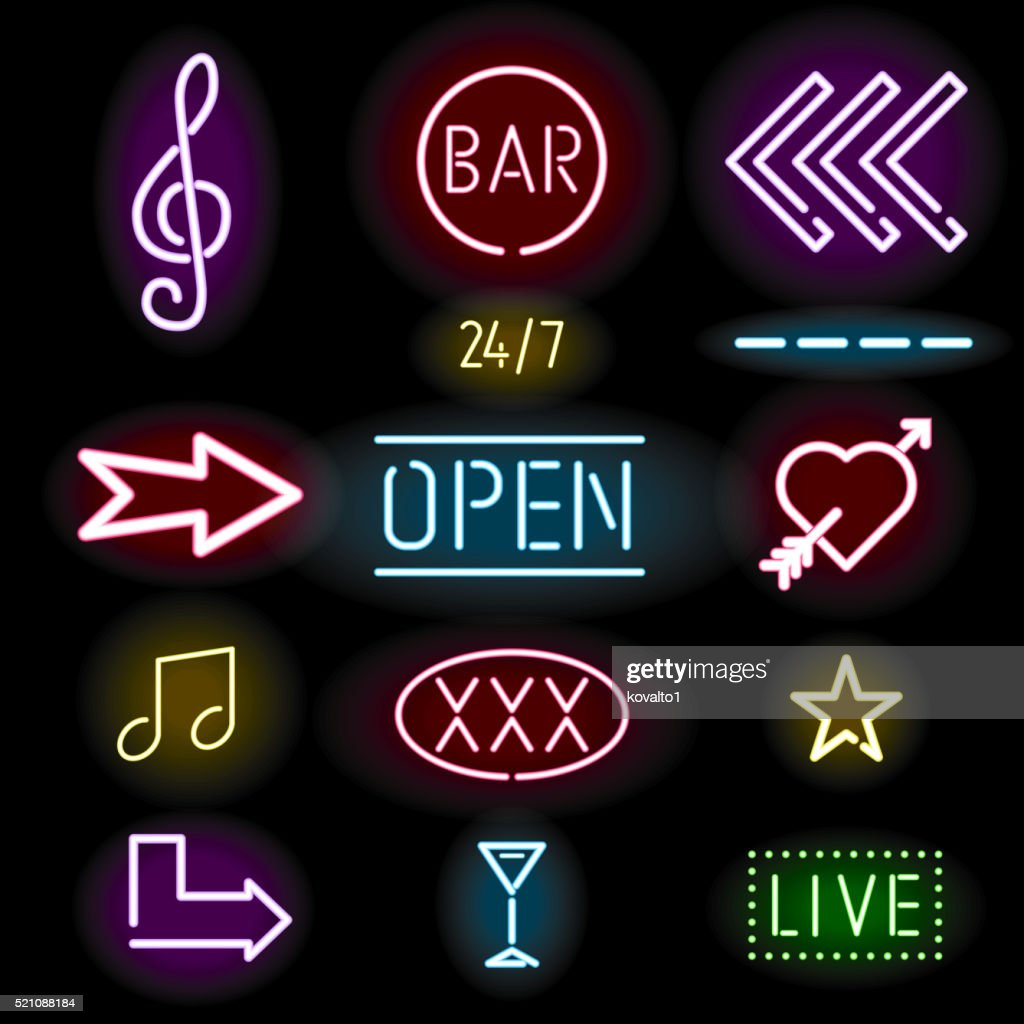 Glowing neon signs, icon set