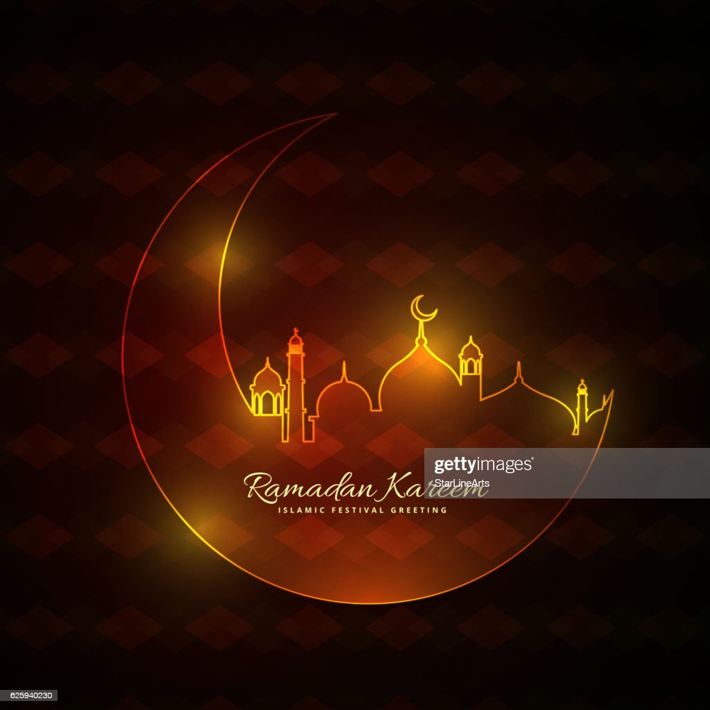 glowing neon style muslim mosque with moon