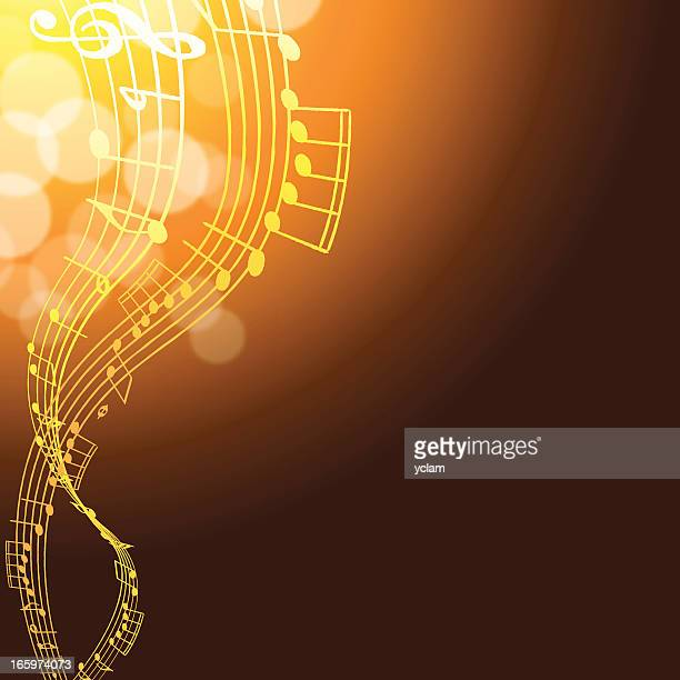 Glowing orange and yellow musical background