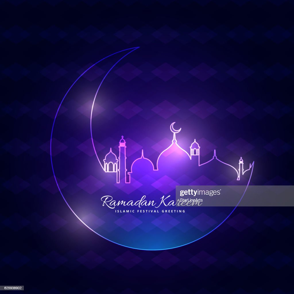 glowing ramadan backgorund with moon and mosque