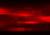 Glowing red abstract tech squares geometric background