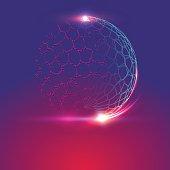 Glowing sci-fi interface HUD elements, globe shaped net