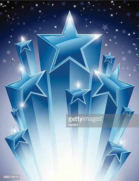 glowing stars burst - celebrities stock illustrations