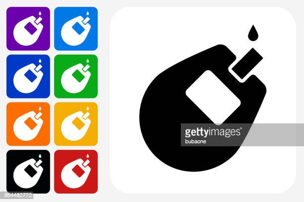 glucose monitor icon square button set - blood test stock illustrations, clip art, cartoons, & icons