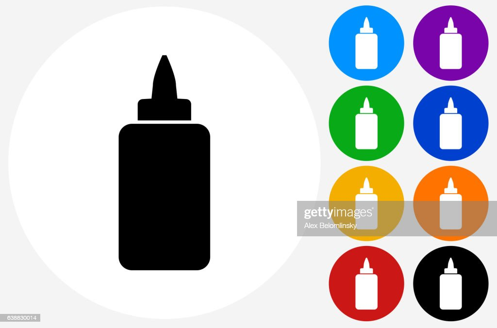 Glue Bottle Icon on Flat Color Circle Buttons